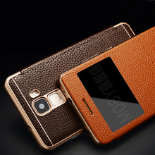 Vintage Retro Luxury Genuine Classic Leather Metal Frame Flip Cover Case for Huawei Honor 7 View