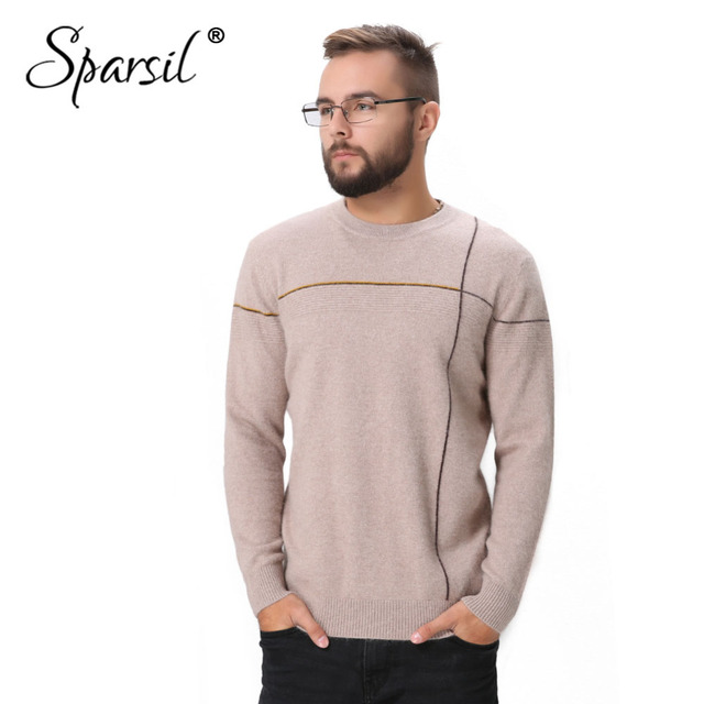 7f7277e34 Spasril Men Autumn New Cashmere Knitted Sweaters Cross striped O ...