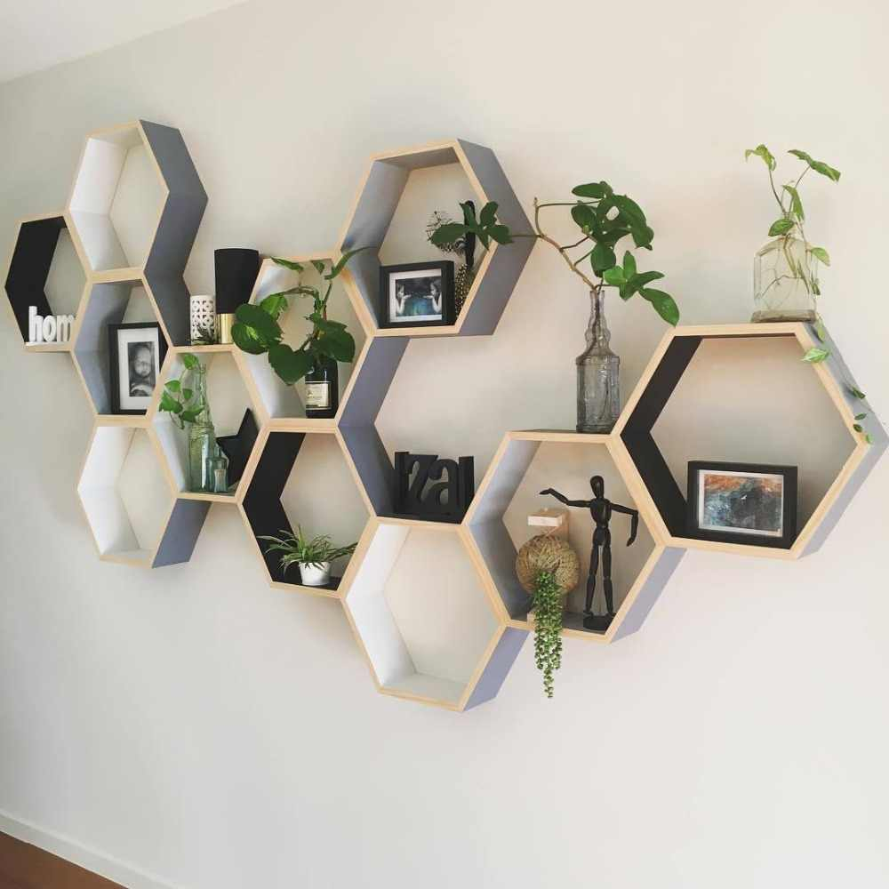 rangement murale hexagone