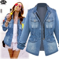 New Women Jeans Coat 2018 New Autumn Female Long Sleeves Zipper Pockets Solid Color Outwear Casual