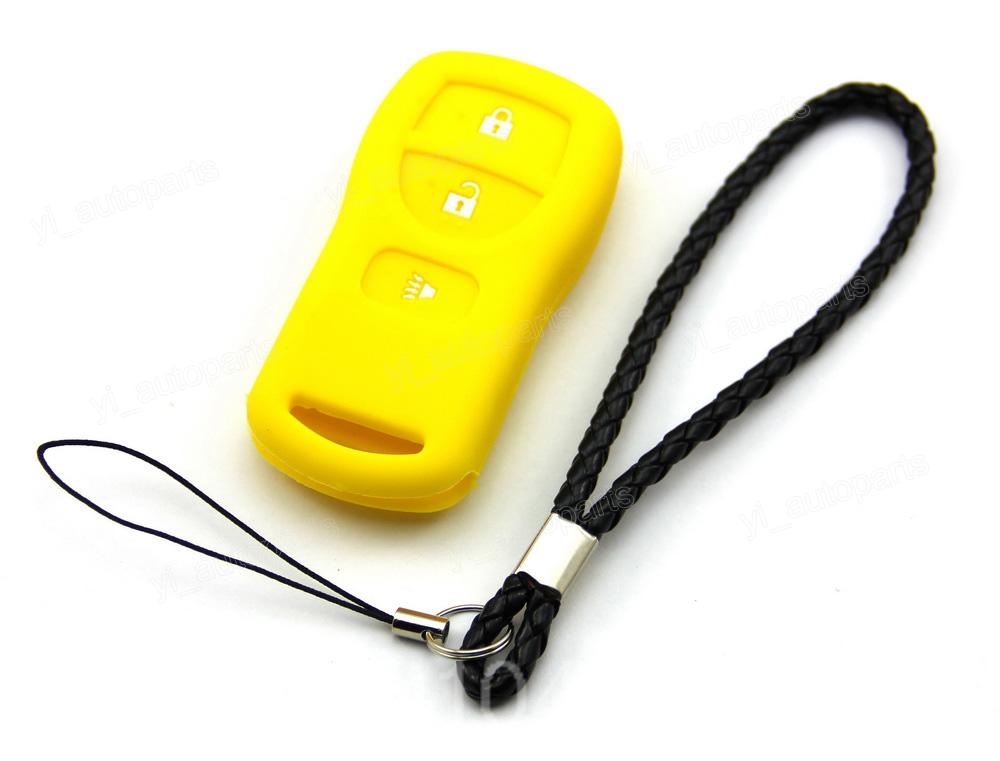 Yellow Silicone Case Cover Fit For Nissan Armada Versa Titan Frontier Xterra Quest Pathfinder Quest Remote Key 3 Buttons