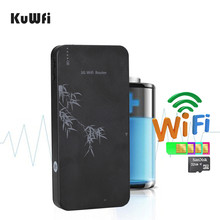 KuWfi 3G 무선 라우터 10000mAh 전원 은행 와이파이 라우터 21Mbps 모바일 와이파이 Hospot RJ45 포트 SIM 카드 슬롯