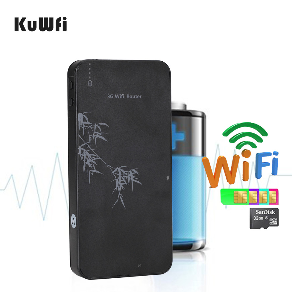 KuWfi 3G Wireless Router 10000mAh Power Bank WIFI Router 21Mbps Mobile WIFI Hospot RJ45 Port With SIM Card Slot