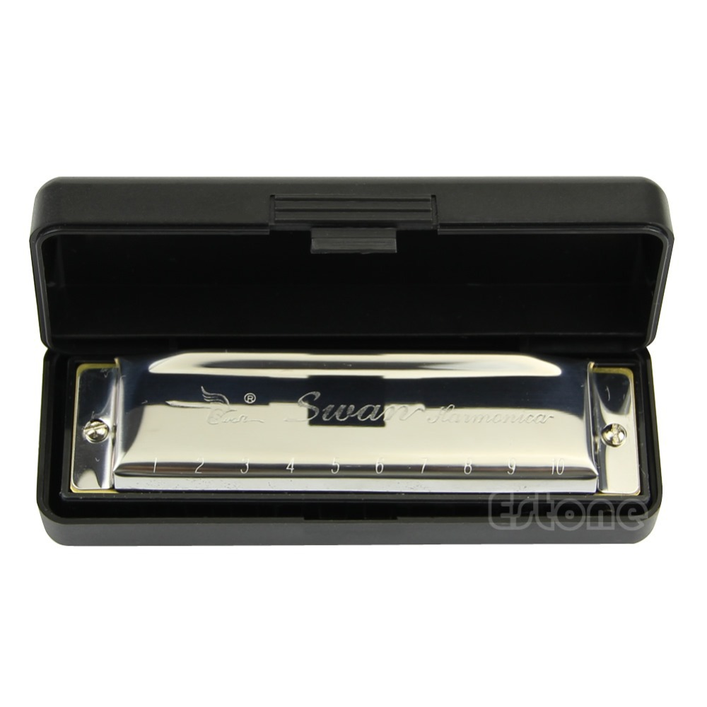 1pc New Swan Harmonica 10 Hole Key Of C For Blues Rock Jazz Folk Harmonicas Silver Musical Accessories