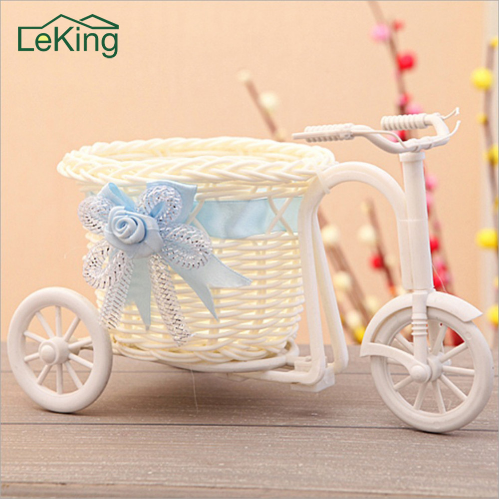 Handmade Flower Vase Ratten Bikecycle Bike Flower Basket Home Garden Wedding Decoration Flower Vase Pots Storage Container Gift