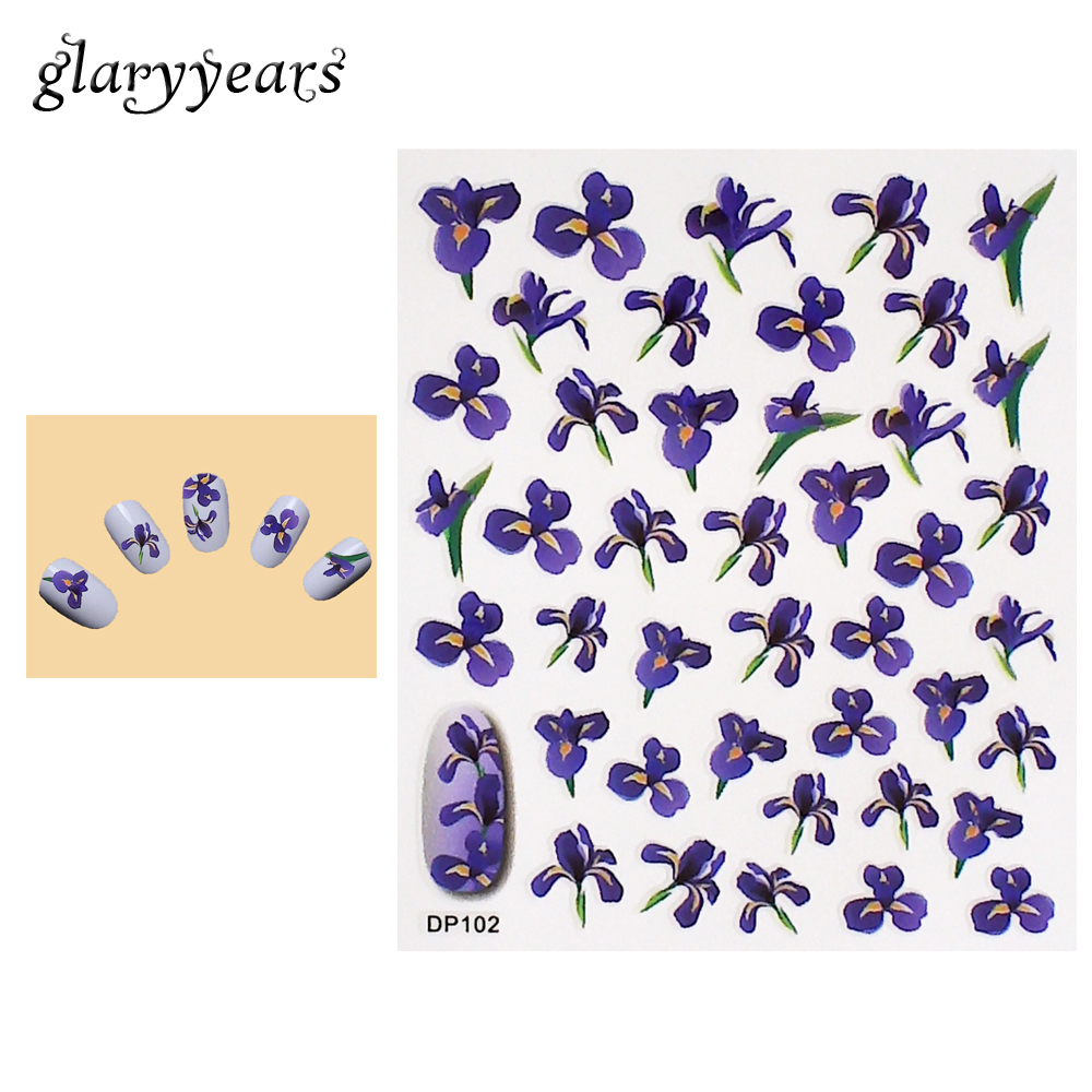 1 Piece Nail Art Sticker Purple Viole Flower Pattern Design Beauty Women Manicure Tips Tool Nail Care Sticker High Quality DP102