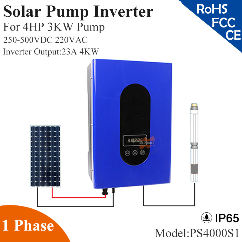 4000W 23A 1phase 220VAC solar pump inverter with IP65 full auto operation for 4HP 3KW water pump for solar pump system decen 2200w pv pump 3700w solar pump inverter for solar pump system adapting water head 79 51m daily water supply 20 40m3