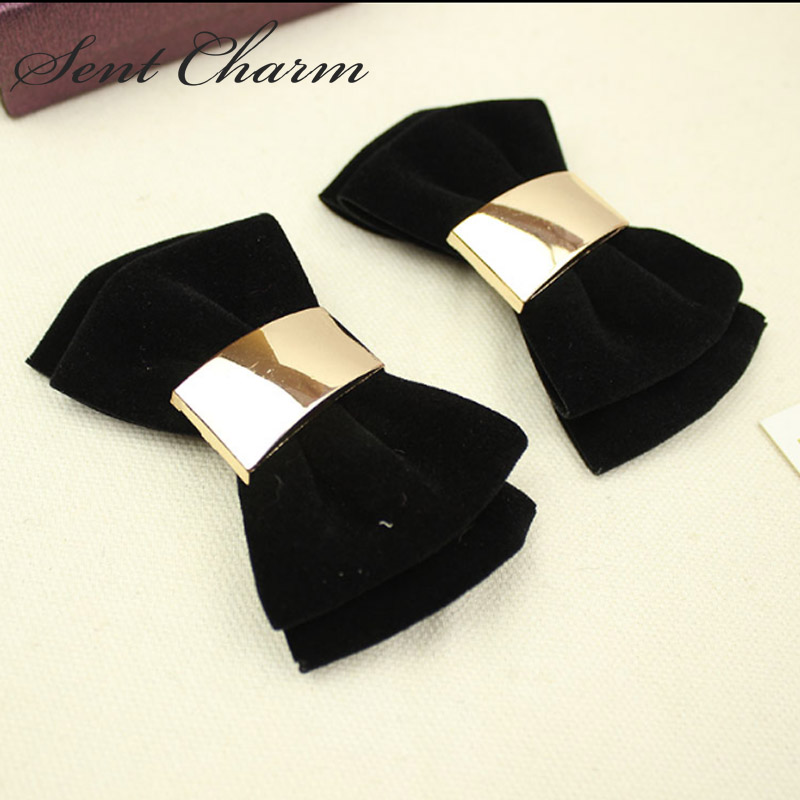7 Colors Simple Fashion Double-deck Bowknot Shoes Clip Velvet Shoes Accessory For Womens Shoes