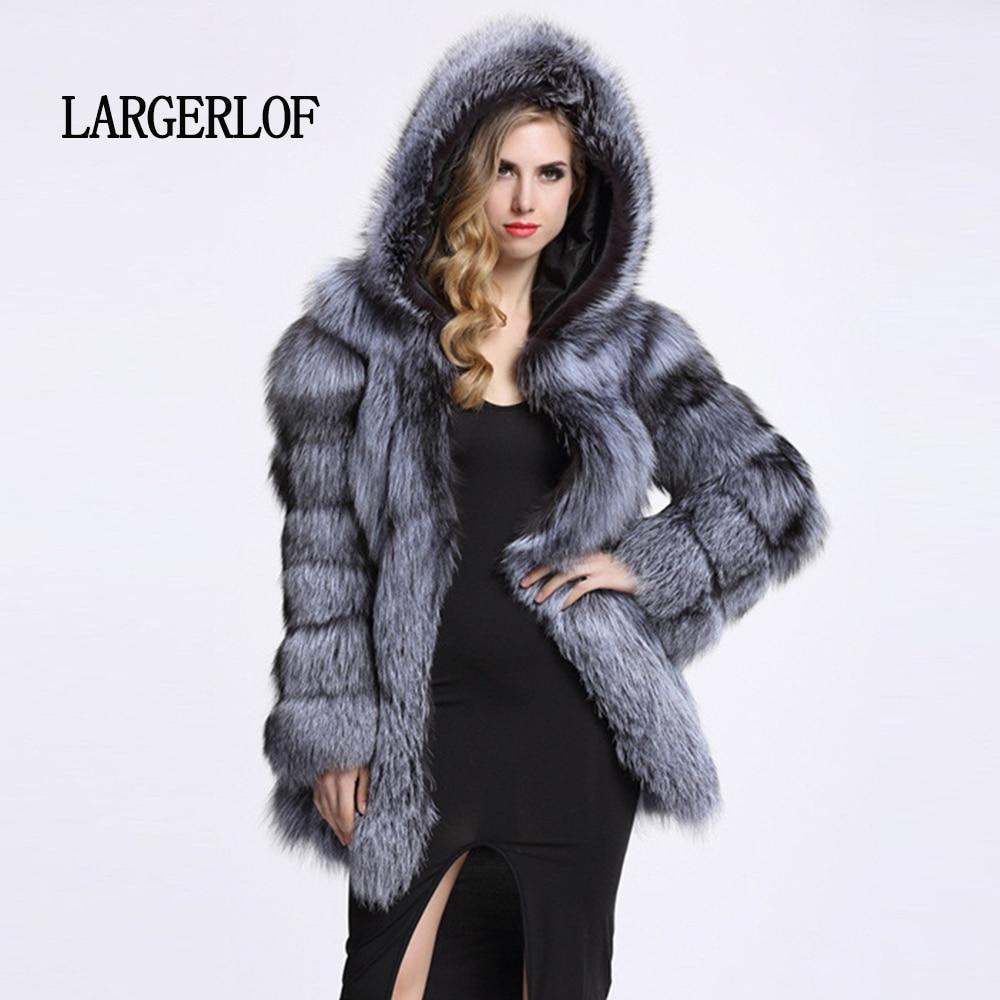 black Cappotto Volpe Del Fluffy Largerlof Inverno Silver Delle Più Il 2018 Caldo Pelliccia Donne Fc50019 white Spessore Formato Rivestimento Di tqxHE