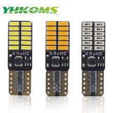 YHKOMS 2 предмета T10 светодиодный лампы W5W 194 168 светодиодный светильник 4014SMD белый янтарь желтый красный автомобиль купол интерьерные лампы для чтения 12V с can-bus