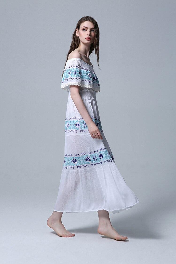 Maxi Picture Plage Coton Longue Robe Date Color Fleur Ruches Blanc Bohème D'été Femmes Piste Encolure 2018 Broderie Haliday BqwZaE