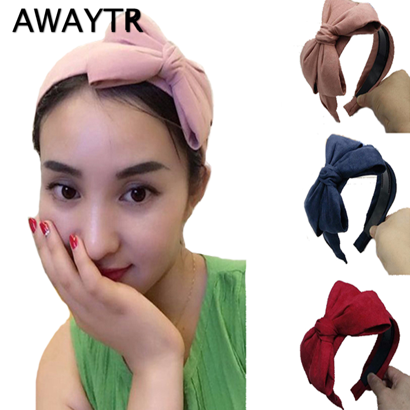 Big Bow Hairband AWAYTR 2019 Winter Velvet Hair Bands Suede Bow Knotted  Hair Accessories For Girls Women Wide Headband