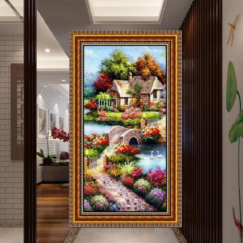 PSHINY 5D DIY Almaz naxış Bağ mənzərə şəkilləri Ev Dekor Tam - İncəsənət, sənətkarlıq və tikiş - Fotoqrafiya 3