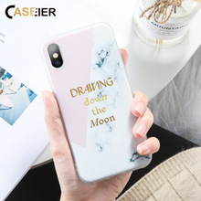 цена на CASEIER Phone Case For iPhone 7 8 Plus X XR XS MAX  Marble Pattern Color Stitching Phone Case For iPhone 6 6S 5S SE 5 Back Cover
