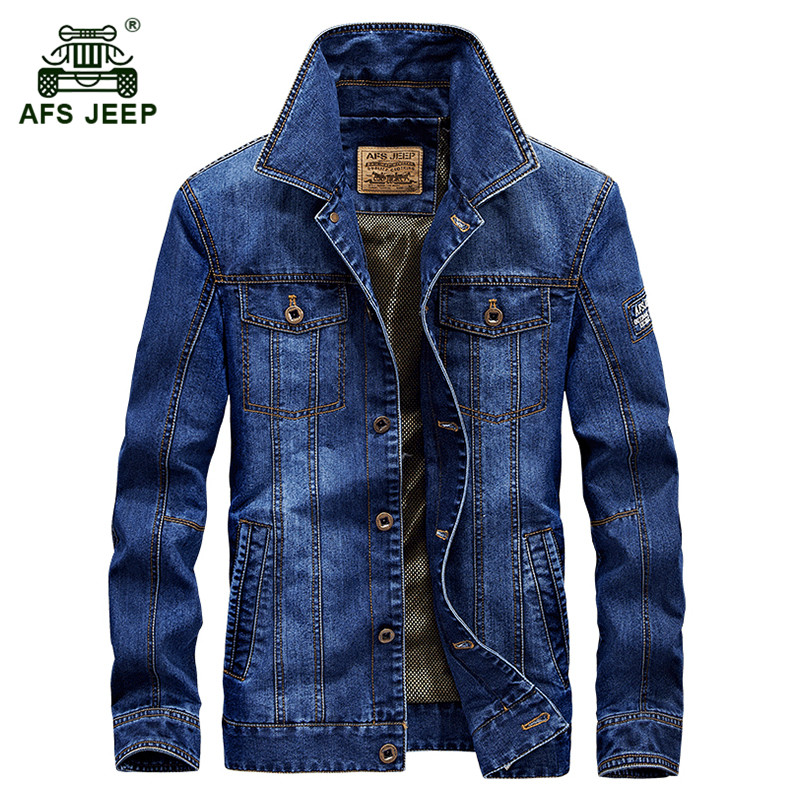 AFS JEEP 2017 Autumn men's fashion casual brand high quality cotton cowboy jacket coat man spring denim blue jackets coats M-4XL