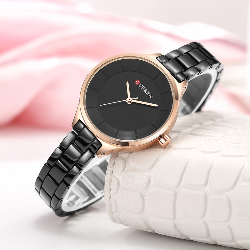CURREN 2018 Watch Women Casual Fashion Quartz Wristwatches Ladies Gift Creative Surface Relogio Feminino Gold Black 9015
