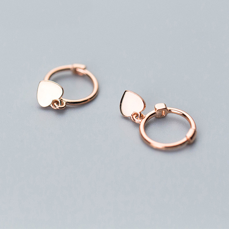 NEW MOTTLED OPEN CIRCLE ROSE GOLD SILVER DROP EARRINGS   UK SELLER