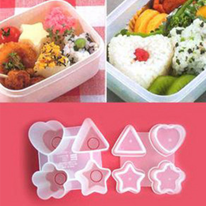 Four Shapes Sushi Rice Ball Mold Punch DIY Triangle Heart Star Bento Maker Onigiri Sandwich Mould Kitchen Gadget Cooking Tools image