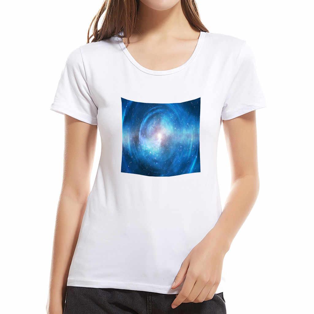 JAYCOSIN 2019 جديد الصيف النساء قمصان عارضة الأزياء الإبداعية جميلة سماء نجمية طباعة قصيرة الأكمام الوالدين والطفل الأم 904166