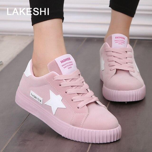 LAKESHI אופנה כוכב נשים נעלי נשים נעליים יומיומיות תחרה עד נשים שטוח נעליים ורוד 2018 חדש נשים נעלי ספורט בוהן עגול נשי נעליים