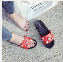 2019 summer new recreational belt drill, thick bottom slipper women slip outside wear beach shoes indoor cool slippers(China)