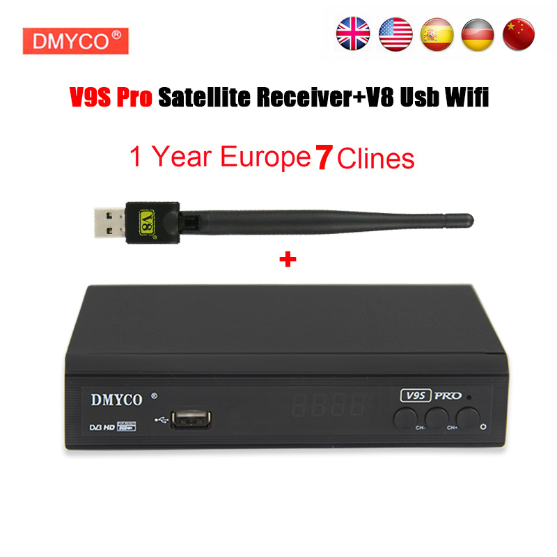 цена на cline for 1 year europe spain V9S Pro receptor satelite dvb s2 1080p Full HD 3G Youporn Youtube FTA Satellite Receiver+USB WIFI