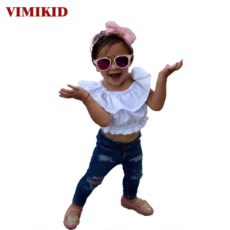VIMIKID 2017 new summer girls clothing sets Toddler Baby Kids Girl Off Shoulder T-Shirt Top + Ripped Jeans Pants Outfits Set  vimikid 2017 new summer girls clothing sets toddler baby kids girl off shoulder t shirt top ripped jeans pants outfits set