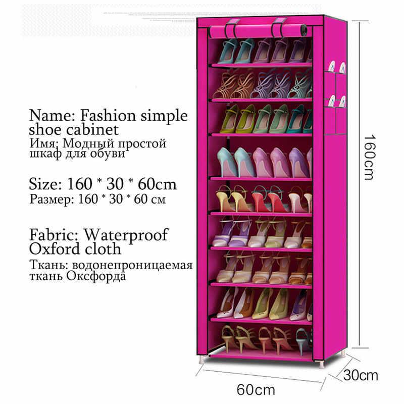 Многофункциональная Ткань Оксфорд Пылезащитная водонепроницаемая обувь шкафчики для обуви 10 слоев 9 сетки органайзер для обуви полка обувь мебель