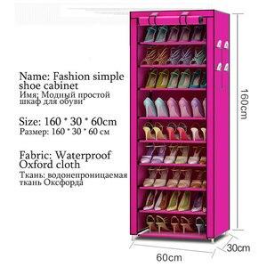 Image 3 - Organizador de sapatos para armário, equipamento à prova de poeira e à prova dágua, prateleira portátil com 10 camadas 9 grades para sapatos e móveis