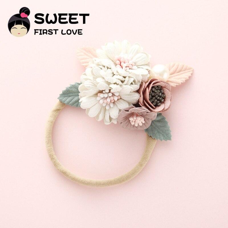 1PCS Fashion Florals Headband Newborn Baby Elastic Princess Hairbands Child Kids Pearl Fresh Style Cute   Headwear   Gifts