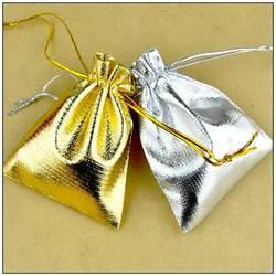 Свадебные Рождество ювелирных изделий Подарочная упаковка Чехлы 100x13*18 см серебро и золото смешать Атлас Ткань Сумки с drawsrting Индивидуальные