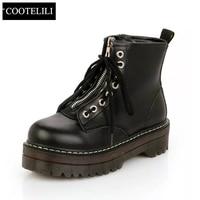 35 40 Plus Size Fashion Zipper Flat Shoes Woman High Heel Platform PU Leather Boots Lace