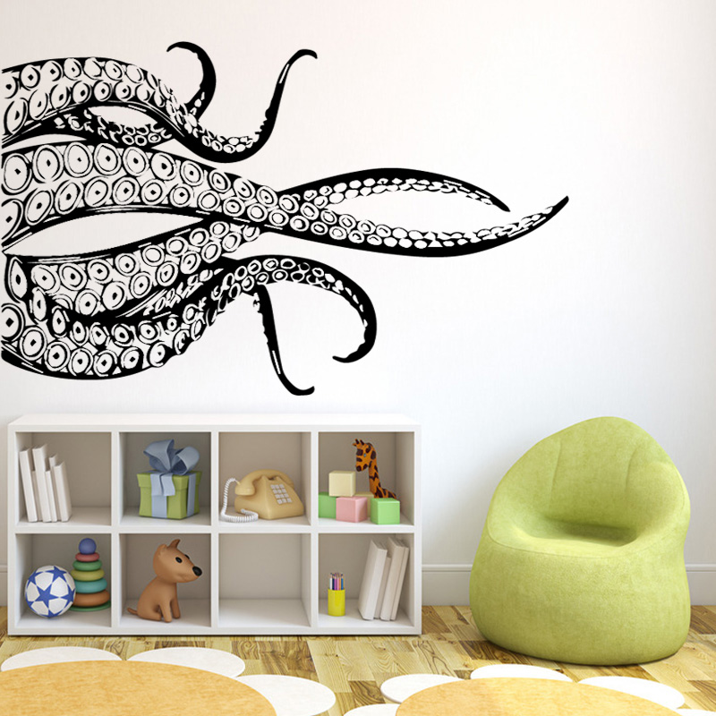 Octopus Tail Figure Wall Art Stickers for Kids Room Bedroom Decoration Vinyl Waterproof Background Self Adhesive Wall Decal