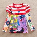 Retail new girl autumn printed long sleeve T-shirt pony bao li tutu children wearing cotton round collar jacket L625