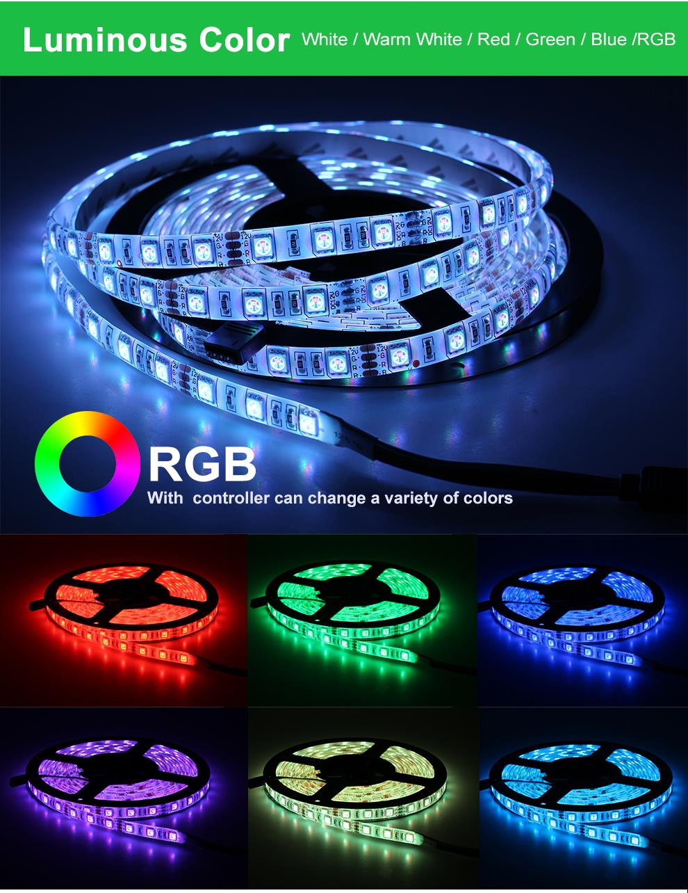HTB1CEzaQkvoK1RjSZFwq6AiCFXah LED Strip 5050 2835 DC12V Flexible LED Light Tape 60LEDs/M White / Warm White / Blue / Green / Red Waterproof RGB LED Strip 5M