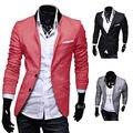 EAS Новый Стильная мужская Повседневная Slim Fit Два Кнопки Костюм Блейзер Пальто Досуг Куртка Топы 3 Цвета размер США XS-L