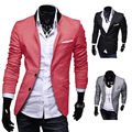 EAS New Stylish Men's Casual Slim Fit Two Button Suit Blazer Coat Leisure Jacket Tops 3 Colors US size XS-L