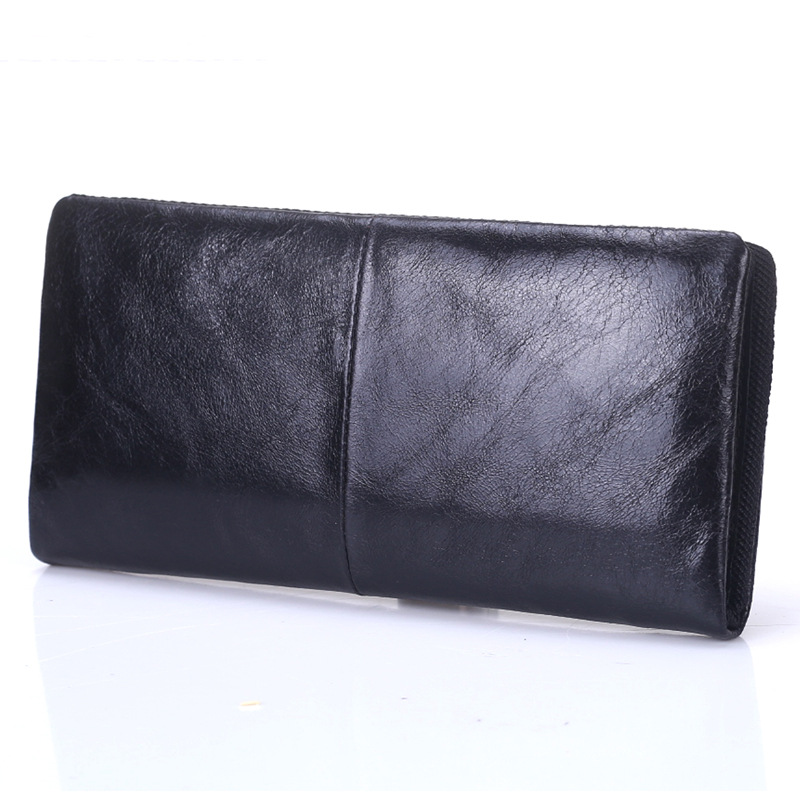 Genuine Leather wallet Long section Coin pocket purses Casual Clutch purse Designer Multi-card bit Car suture black Brown wallet