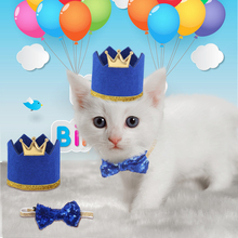 One Set/ Two pieces Pet Birthday Cap and Bow Tie for Small/Medium Dog/Cat Dog  Decorative Accessories Hat