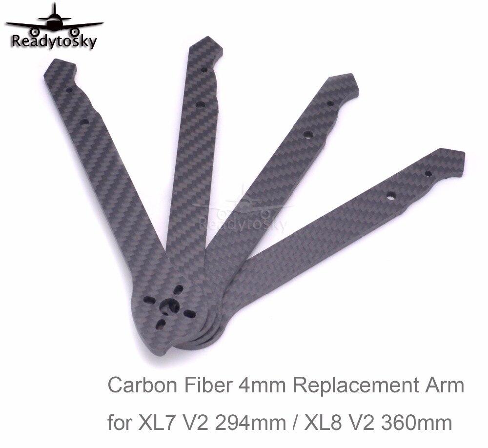 Bras en Fiber de carbone 3K bras de rechange 4mm pour V2 XL5 232mm/XL6 283mm/XL7 294mm/XL8 360mm cadre FPV Drone de course