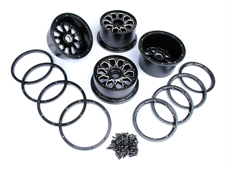 Rovan parts 1/5 scale Baja 5B gas rc baja tyres parts Metal Alu Hubs beadlocks set  85234 rovan gas baja 30 5cc 4 bolt chrome engine with walbro carb and ngk spark plug for 1 5 scale hpi km losi rc car parts