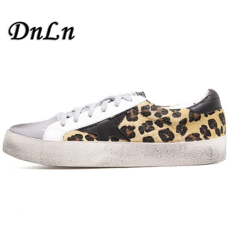 2018 Women Casual Shoes Genuine Leather Do Old Dirty Shoes Woman Leopard Print Flats Horse Fur ZT40
