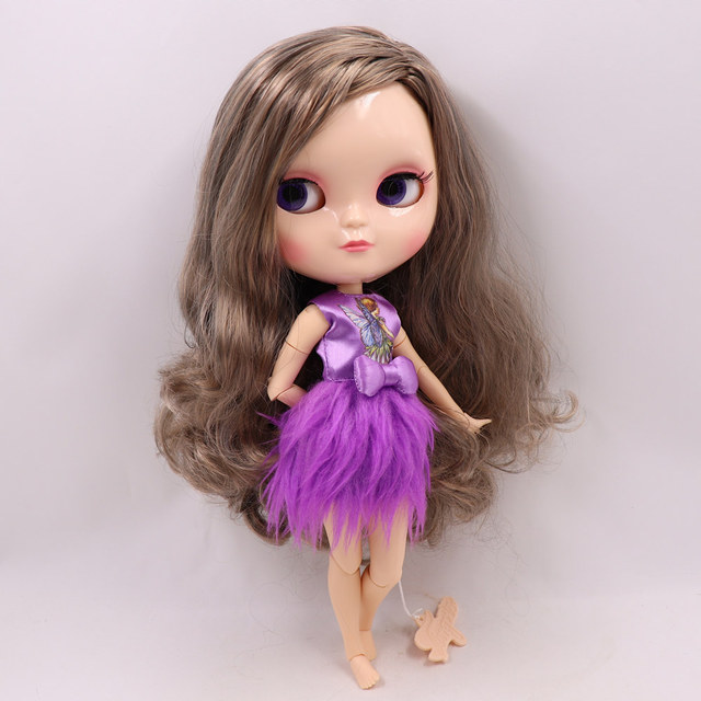 Joint body ICY nude doll small chest azone golden mix gray hair side parting No.2240/9016 30CM F&D free shipping