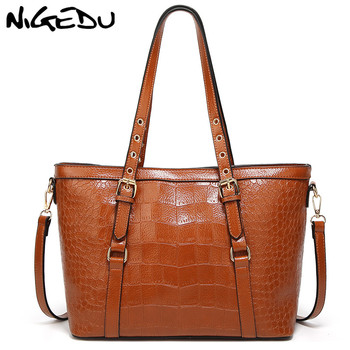 NIGEDU Crocodile Women bag brand luxury design handbag 2019 Big Tote Bags Female shoulder bags PU Leather messenger bags bolsa