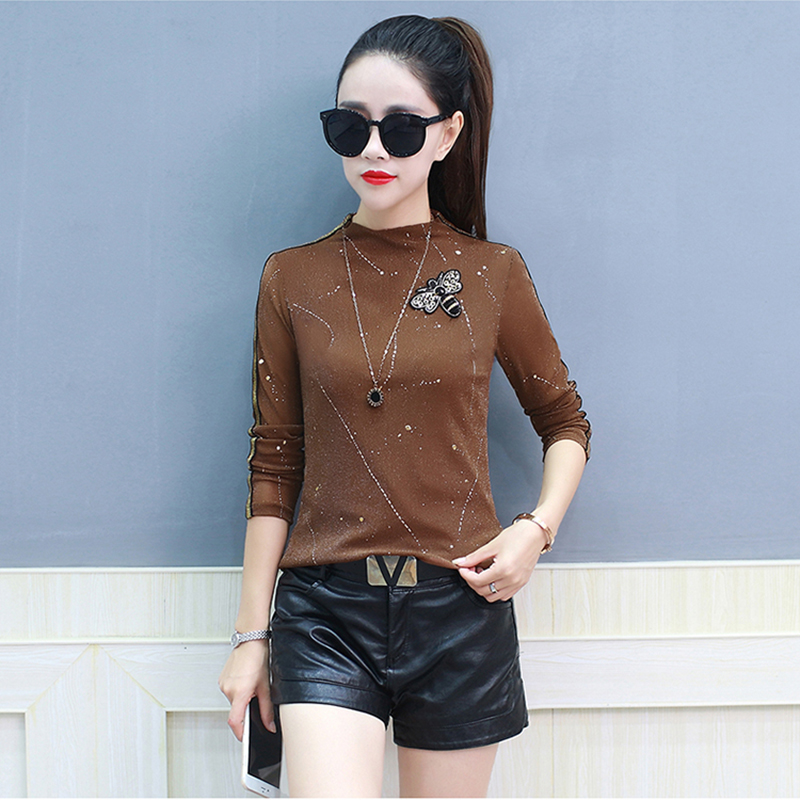 Camiseta Mujer 2018 Vogue Korean Tshirt Women Beading Animal Bee T Shirts Casual Stand Tee Shirt Femme Slim Sequin Woman Clothes in T Shirts from Women 39 s Clothing
