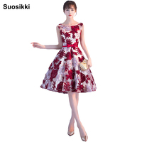 Suosikki New Arrival Summer Lace Elegant Flower Evening Dress Short Formal Prom Dresses Gown Abiye Robe