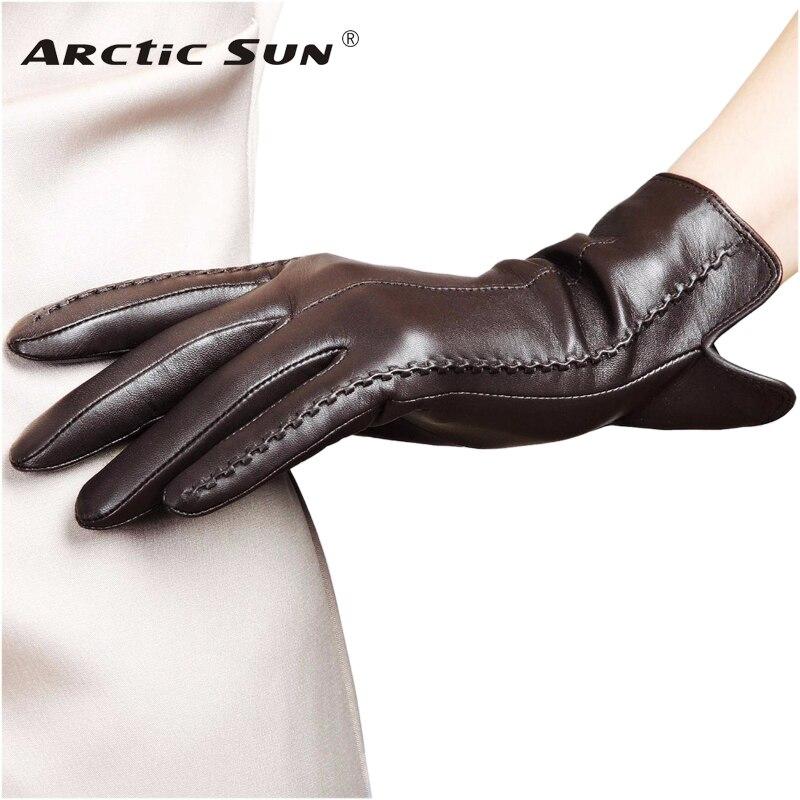 Alta calidad elegante genuino de las mujeres de cuero de piel de cordero guantes térmica de otoño e invierno de moda mujer guante L085