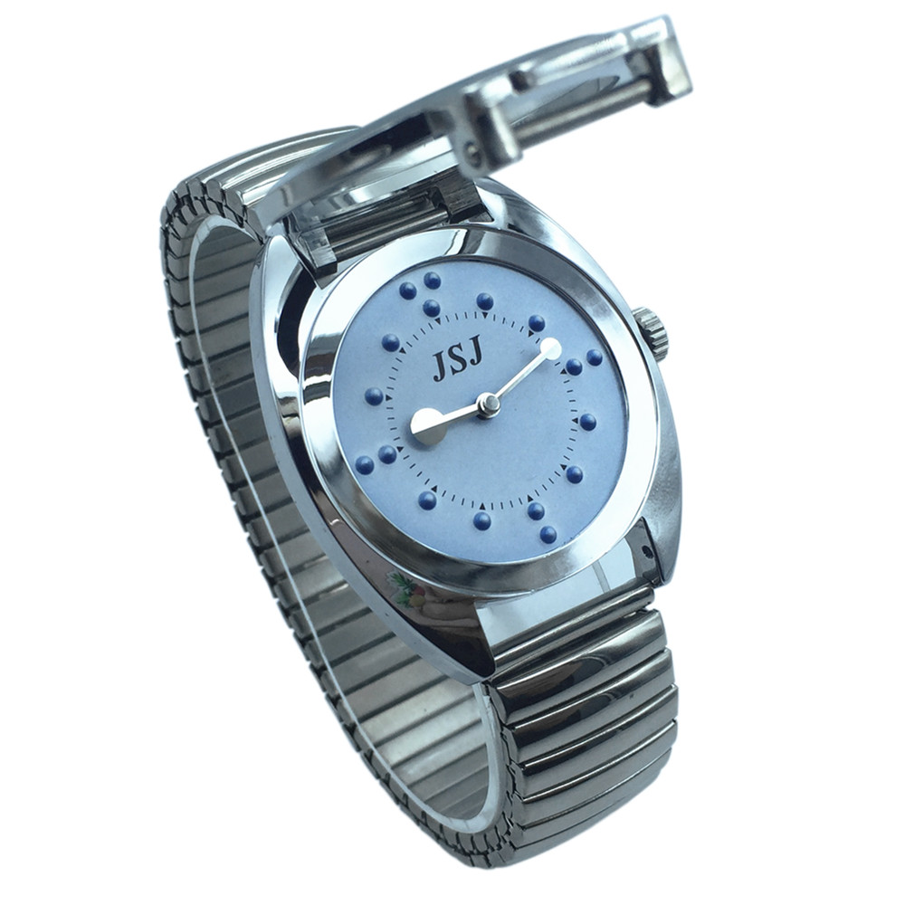 Stainless Steel Tactile Watch For Blind People--Battery Operated(Expansion Band, Blue Dial)