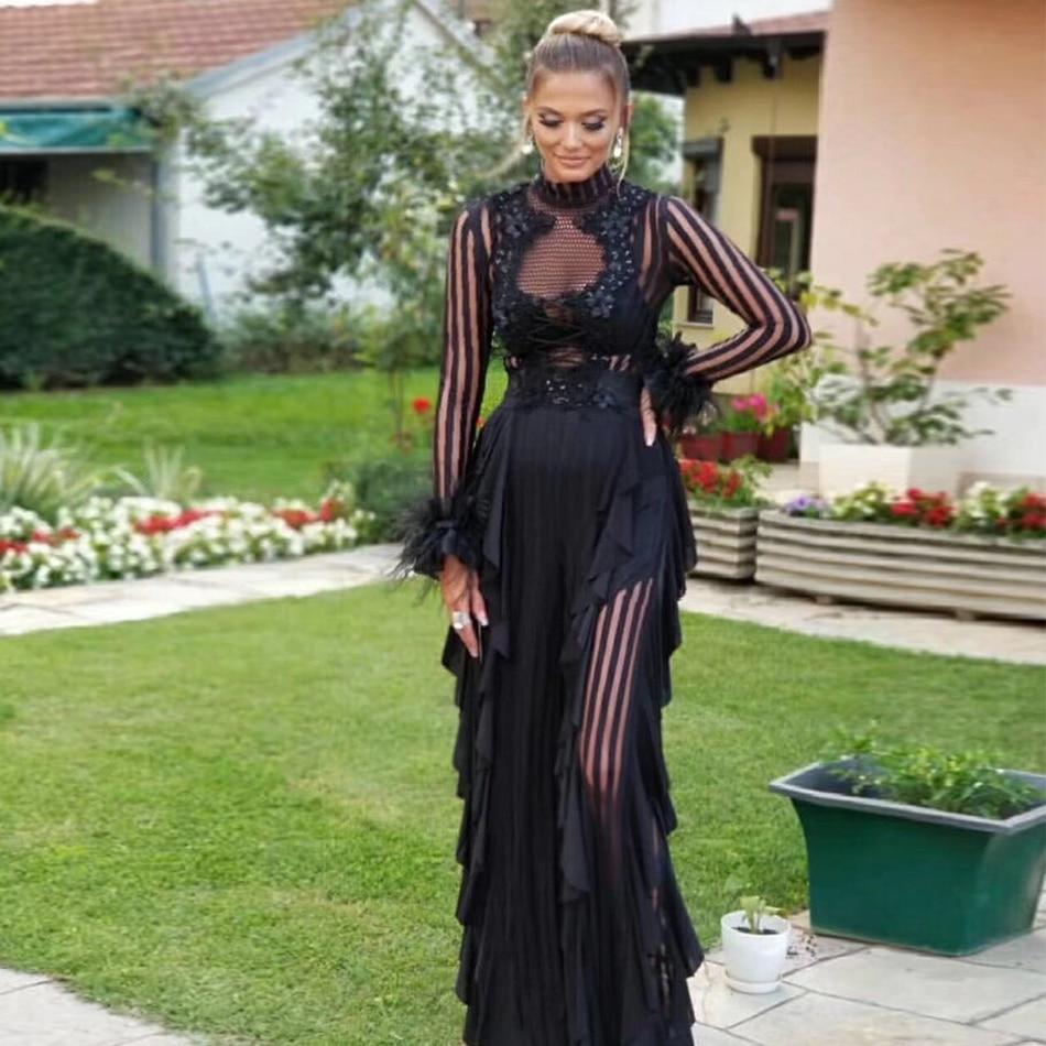 af8429d5205 Adyce макси для женщин оборками Bodycon знаменитости платье vestidos Verano  2019 пикантные с длинным рукавом кружево