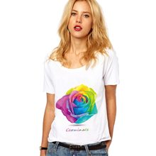 Roses Floral T Shirt Women Summer Harajuku Aesthetic Vegan Friends Pokemon Feminist Grunge Streetwear Kawaii White Rose Tops(China)